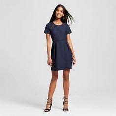 Women's Short Sleeve A-Line Dress Navy - Eclair : Target