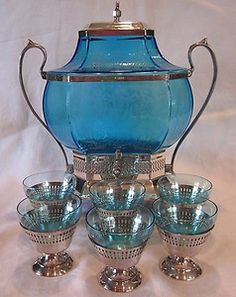 Antique peacock blue samovar for serving heated tea!  @Erin Morgan  We must have this!