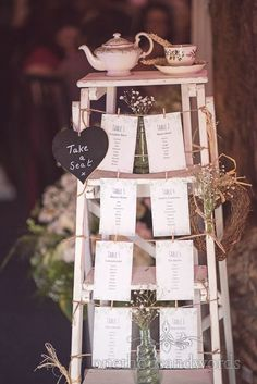 Retro wooden step ladder wedding table plan at barn wedding venue. Photography by one thousand words wedding photographers wedding tables planner Ladder Wedding, Barn Wedding Venue, Diy Wedding, Wedding Events, Rustic Wedding, Destination Wedding, Wedding Planning, Wedding Ideas, Wedding Crates