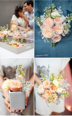 We are always on the hunt for the next flower we can obsess over … right now, it's Peach English Garden Roses aka the Cabbage Rose.  We love how fluffy they are and the color is brilliantly beautiful.  It's like nature's put a big full rose into its own little teacup.  Therese Jacinto Design put together the petal pretties below and we just love 'em!  T