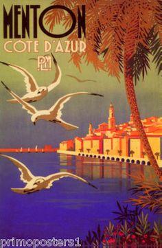 French La Cote D'Azur Menton France Europe Repro Poster | eBay