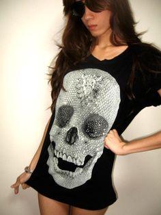 Diamond Skull Goth Punk Pop Art Rock TShirt M by badassbags4u, $16.99