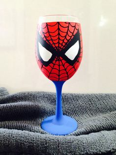 Spiderman inspired hand painted wine glass. by AWhimsicalHoot, $20.00