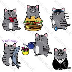 A personal favourite from my Etsy shop https://www.etsy.com/listing/469643576/kawaii-cats-clipart-2-digital-cats
