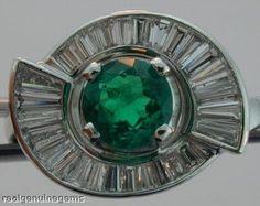 0.8ct Emerald & Tapered Baguettes Diamond Platinum Ring