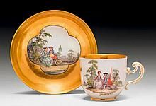Lot Title:  MEISSEN CUP WITH GOLD GROUND AND PAINTI...