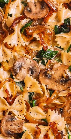 Creamy Bow Tie Pasta with Spinach, Mushrooms, Caramelized On.- Creamy Bow Tie Pasta with Spinach, Mushrooms, Caramelized Onions Italian Recipes, Beef Recipes, Chicken Recipes, Healthy Recipes, Healthy Chicken, Recipies, Chicken Zucchini, Pizza Recipes, Healthy Meals