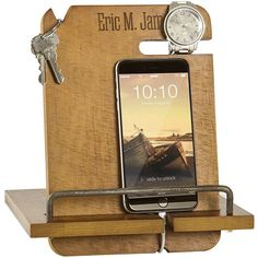 Wood nightstand organizer docking station laser engraved with name