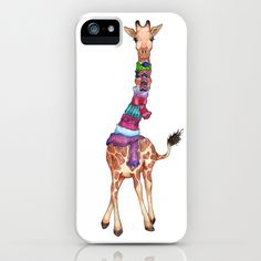 Cold Outside - cute giraffe illustration iPhone & iPod Case by Perrin Le Feuvre - $35.00. Available on different Iphone models and samsung galaxy phones...