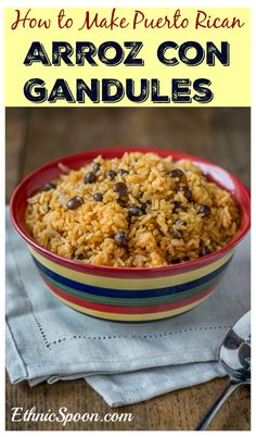 A really easy recipe for arroz con gandules or rice with pigeon peas Puerto Rican style! Aromatic and almost a floral quality. | ethnicspoon.com