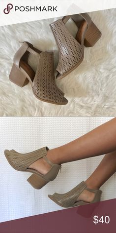 "Taupe cut out booties Very cute taupe cut out booties Heel Height 2"" Shoes Ankle Boots & Booties"
