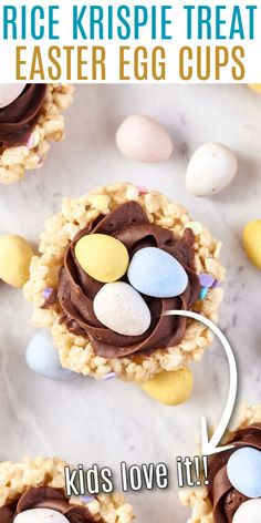 Easter Rice Krispie Treats shaped like bird's nests! A few chocolate egg candies and a swirl of chocolate frosting make these perfect for spring time. Put them in your Easter baskets or bring them to a party to share. Chicken Bacon Ranch Bake, Lemon Chicken Pasta, Chocolate Raspberry Brownies, Chocolate Frosting, Easy Holiday Desserts, Sweet Desserts, Homemade Rice Krispies Treats, Delicious Desserts, Dessert Recipes