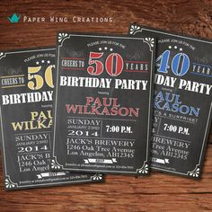 Chalkboard 50th birthday invitation. Retro by ThePaperWingCreation, $15.00