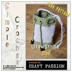 Get free pattern on how to crochet a small drawstring bag by using t-shirt yarn. Install eyelet to make it into drawstring bag.