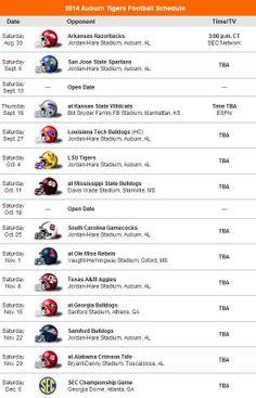 2014 Auburn Tigers Football Schedule