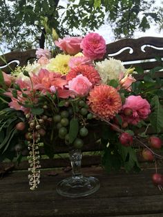 Fancy compote dahlia arrangement
