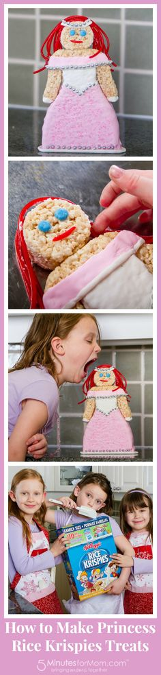 How to Make Princess Rice Krispies Treats - includes Original Recipe, Instructions for making Princess and a fun video demonstration.