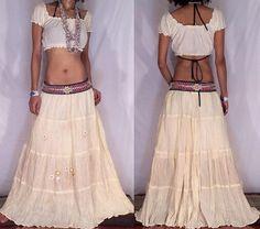 Off White Gauze Bohemian Gypsy Skirt by BlondellaLife on Etsy