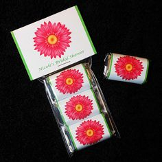 Personalized Bridal Shower Favor Sets, Hershey Miniature Candy Bars, pink gerbera daisy, DIY set of 40 on Etsy, $50.00