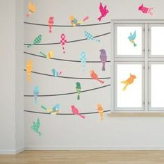birds on a wire bulletin board | Pattern Birds on a Wire Wall Decals in a bedroom