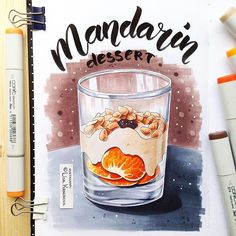Thanks to winter for mandarins Copic Marker Art, Copic Art, Sketch Markers, Copic Markers, Marker Drawings, Food Sketch, Recipe Scrapbook, Art Folder, Alcohol Markers