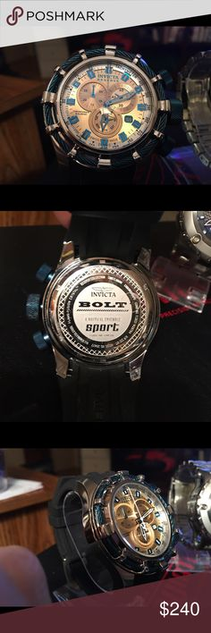 Invicta bolt model 20477 Swiss caliper 8172/220 Case size 50MM case case stainless steel push crown flame fusion crystal has a metal dial the strap a silicone black length 210mm regular buckle and a regular clasp water resistant 200m Invicta Accessories Watches