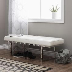 Andalucía White and Stainless Steel Modern Leather Button-tufted Bench - Prices, Reviews & Deals - 15510147
