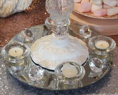 Silver sequin round tablecloth with Blush sequin runner