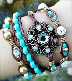 Leather wrap bracelet, made by Dizzy Bees, found on facebook!