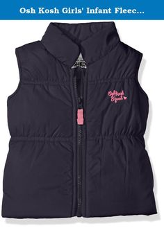 Osh Kosh Girls' Infant Fleece Lined Puffer Vest, Navy, 18 Months. Heavyweight puffer vest with fleece lining and chest detail.