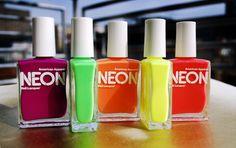 L to R: American Apparel Neon Purple, Neon Green, Neon Orange, Neon Yellow, Neon Red