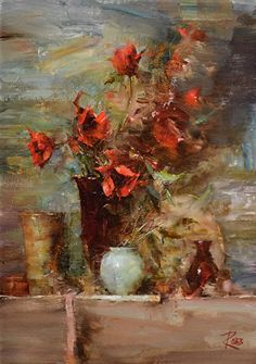 Crimson Poppies by Laura Robb Oil ~ 14 x 10