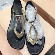 BCBG black and gold sandals❤️ Pre owned but in excellent condition! BCBG black and gold sandals. Super cute! BCBGeneration Shoes Sandals