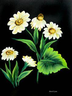 One stroke flowers. Painted by Hazel Lynn.