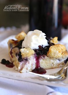 Cookies and Cups Overnight Blueberries and Cream French Toast Casserole - Cookies and Cups