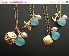 ON SALE Bridesmaid GIFT Set of Four Nautical by LaBodaCollection