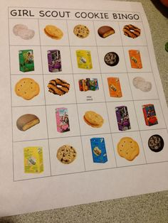 Cookie bingo that I made to help our girls become familiar with cookies before booths in the spring