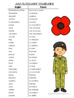 Le Jour du Souvenir (Remembrance Day) French Vocabulary Activities and Quiz Vocabulary List, Vocabulary Activities, Remembrance Day Activities, French For Beginners, Day List, Learn French, Teaching, Education, Words