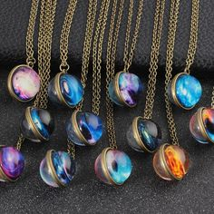 Buy Vintage Solar System Galaxy Planet Universe Necklace For Women Men Double Sided Glass Ball Pendant Necklace 2019 Fashion Jewelry Fashion Jewelry Necklaces, Cute Jewelry, Handmade Necklaces, Fashion Necklace, Jewelry Ideas, Fall Jewelry, Jewelry Accessories, Handmade Jewelry, Galaxy Jewelry