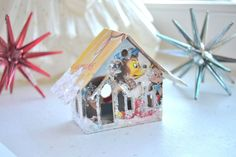 Vintage Christmas Card Glitter House Illuminating by ShesCrafty121