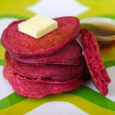 Beet pancakes! Made with roasted and pureed beets