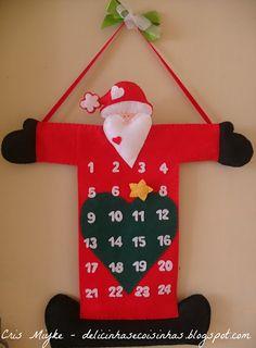 Calendário Natalino - Papai Noel (em Feltro) - http://delicinhasecoisinhas.blogspot.com.br/2012/11/calendario-natalino-papai-noel-em-feltro.html
