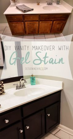 DIY Vanity Makeover with Gel Stain. How to makeover your bathroom vanity or cabinets with gel stain. General Finishes in Java Gel Stain. Diy Vanity, Bathroom Vanity Makeover, Vanity Ideas, Dark Vanity Bathroom, Refinish Bathroom Vanity, Bathroom Cabinet Redo, Wood Vanity, Vanity Cabinet, Cabinet Stain