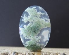 Agate Moss Cabochon..seems to me a little bonzaï in a stone cage origin: Brasil at 80%