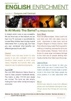 The English Enrichment course aims to improve students' critical reading skills, vocabulary building, and written English. (note: CTQ stands for Critical Thinking Questions) Level 3 is adjusted to Grades 5-6 ESL students. The theme for this lesson compare and contrast and the topic is musical genres.