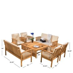 Home Loft Concepts Dakota 8 Piece Dining Set with Cushion