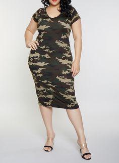 efa492a8d2088 Plus Size Slashed Camo T Shirt Dress