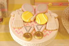 Cookies at a Tennis Birthday Party via Kara's Party Ideas Kara'sPartyIdeas.com #Sports #Tennis #Ideas #Supplies