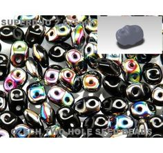 20gr Czech Two-Hole Seed Beads SuperDuo 2.5x5mm Jet Vitrail AB