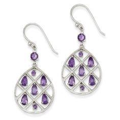 Sterling Silver Amethyst Teardrop Dangle Earrings at Keswick Jewelers in Arlington Heights, IL 60005 www.keswickjewelers.com